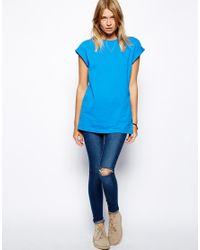 ASOS | Blue Boyfriend T-Shirt with Roll Sleeve | Lyst