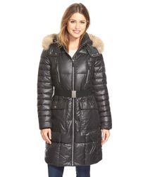 Marc New York | Black 'adrianne' Genuine Coyote Trim Belted Long Down & Feather Fill Coat | Lyst