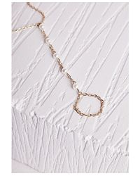 Missguided - Metallic Thin Pearl Detail Hand Chain Gold - Lyst