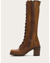 Frye - Brown Karen Lace Up Tall - Lyst