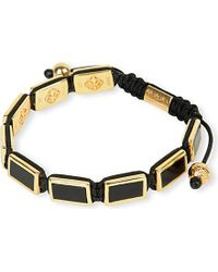 Nialaya | Metallic 18ct Gold And Matte Onyx Beaded Bracelet | Lyst
