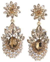 Carolee | Metallic Top Of The Rock Gold-tone Brown Crystal Clip-on Earrings | Lyst