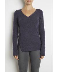 INHABIT | Blue Cashmere Stretch V-neck With Asymmetric Zipper | Lyst