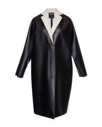 MSGM | Black Eco Nappa Leather Coat | Lyst