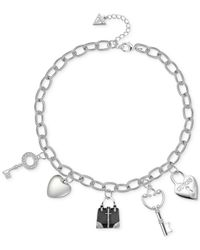 Guess - Metallic Silver-tone Enamel Crystal Charm Gifting Necklace - Lyst