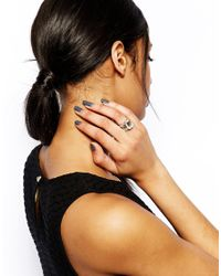 Lipsy - Metallic Emerald Cut Engagement Stack Rings - Lyst