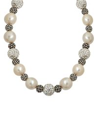 Lord & Taylor | White Sterling Silver Pearl And Crystal Necklace With Oxidized Beads | Lyst
