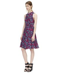 Rebecca Taylor | Purple Sleeveless Mystic Garden Print Twist Dress | Lyst