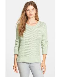 Vince Camuto - Green Chevron Rib Cotton Blend Crewneck Sweater - Lyst