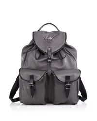 Giuseppe Zanotti | Gray Zipper-trim Leather Backpack for Men | Lyst