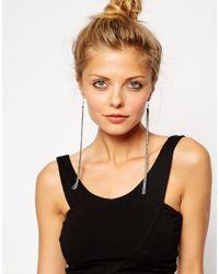ASOS - Metallic Fine Cable Chain Tassel Earrings - Lyst