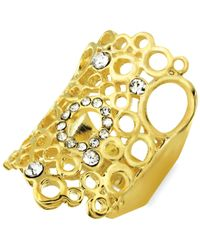 City By City - Metallic Gold-tone Crystal Openwork Oblong Ring - Lyst
