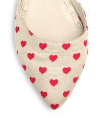 Alice + Olivia - Natural Hilary Heart Print Canvas Dorsay Flats - Lyst