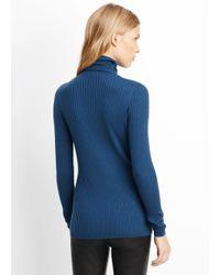 VINCE | Blue Skinny Rib Turtleneck Sweater | Lyst