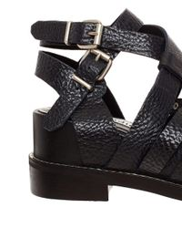Acne Studios | Black Grained Leather Lenna Sandals | Lyst