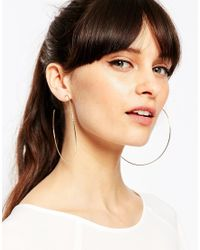 ASOS - Metallic Gold Plated Sterling Silver 90mm Hammered Hoop Earrings - Lyst