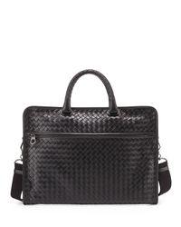 28170e4eb960 Lyst - Bottega Veneta Men s Small Woven Leather Briefcase in Brown ...