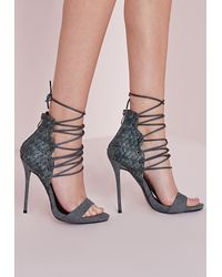 eef470f891a4 Lyst - Missguided Woven Detail Barely There Heeled Sandals Grey in Gray