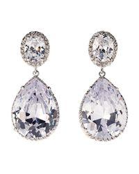 CZ by Kenneth Jay Lane | Metallic Silver-tone Pear-shaped Cubic Zirconia Earrings | Lyst
