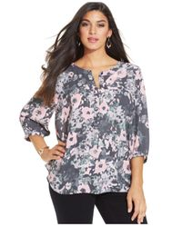 NYDJ | Pink Henley Printed Georgette Hi-low Shirttail Blouse | Lyst