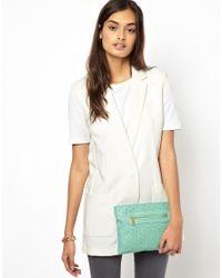 ASOS | Green Zip Top Clutch Bag with Laser Cut | Lyst