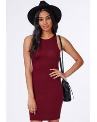 Missguided - Red Racer Bodycon Dress Burgundy - Lyst