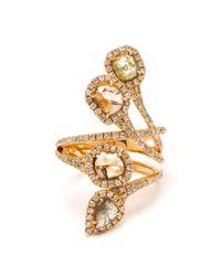 Saqqara - Metallic 18k Yellow Gold Diamond Quatrain Ring - Lyst