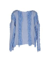 Opening Ceremony | Blue Raffia Welt Long-sleeve Pullover | Lyst