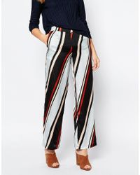First & I - Gray Stripe Palazzo Pant - Lyst