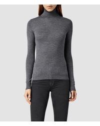 AllSaints - Black Albar Roll Neck Sweater Usa Usa - Lyst