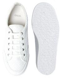 ASOS - White Dino Flatform Sneakers - Lyst