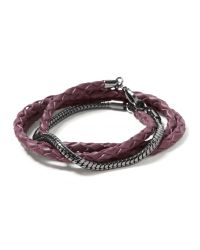 Banana Republic | Purple Leather Snake Chain Bracelet | Lyst