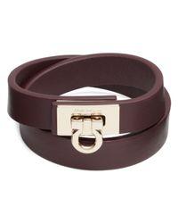 Ferragamo | Black Leather Gancini Double Wrap Bracelet | Lyst
