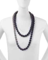 Eileen Fisher - Blue Mini Striped Beaded Necklace - Lyst