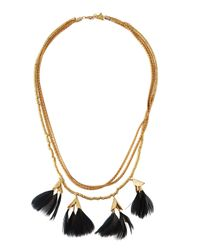 Serefina | Black Dancing Feathers Statement Necklace | Lyst