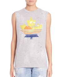 DSquared² | Gray Leaf-print Muscle Tee | Lyst