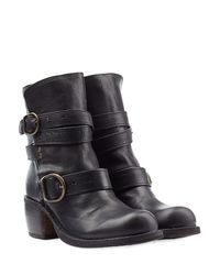 Fiorentini + Baker   Leather Buckle Ankle Booties - Black   Lyst