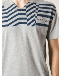 Golden Goose Deluxe Brand - Gray Flag-print Cotton T-Shirt for Men - Lyst