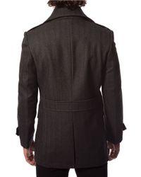 7 Diamonds | Gray Glasgow Wool-blend Peacoat for Men | Lyst