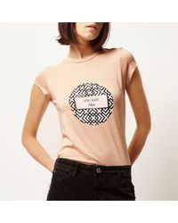River Island - Natural Pink Slogan Print Fitted T-shirt - Lyst