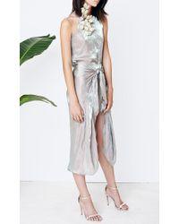 Kaelen - Green Iridescent Satin Tie-Front Skirt - Lyst