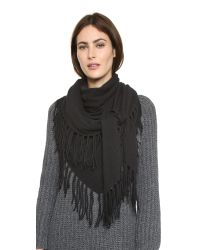 White + Warren - Black Cashmere Fringe Triangle Scarf - Grey Heather - Lyst