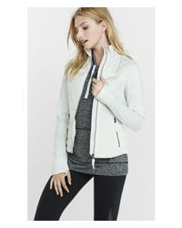 Express | White Athletic Jacket With Knit Sleeves | Lyst