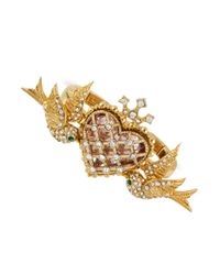 Betsey Johnson - Metallic Goldtone Glass Heart And Birds 2finger Stretch Ring - Lyst