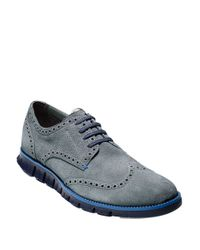 Cole Haan | Blue Zerogrand Suede Oxfords for Men | Lyst