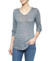 Eileen Fisher - Metallic V-Neck Linen Sweater - Lyst