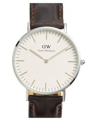 Daniel Wellington | Brown 'classic York' Leather Strap Watch | Lyst