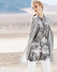 Eileen Fisher - Gray Merino V-neck Cardigan - Lyst