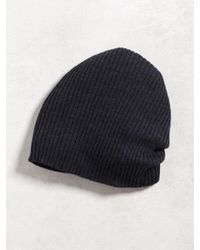John Varvatos | Blue Double Layer Rib Knit Beanie for Men | Lyst