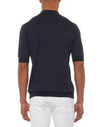 Façonnable - Blue Contrast-Panel Knit Polo Shirt for Men - Lyst